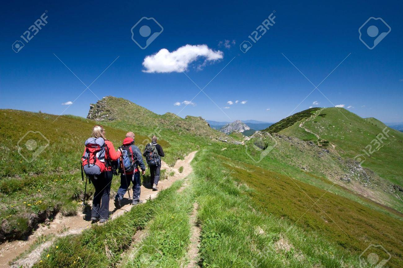 Group of friends hiking in Mala Fatra in Slovakia - 5067264