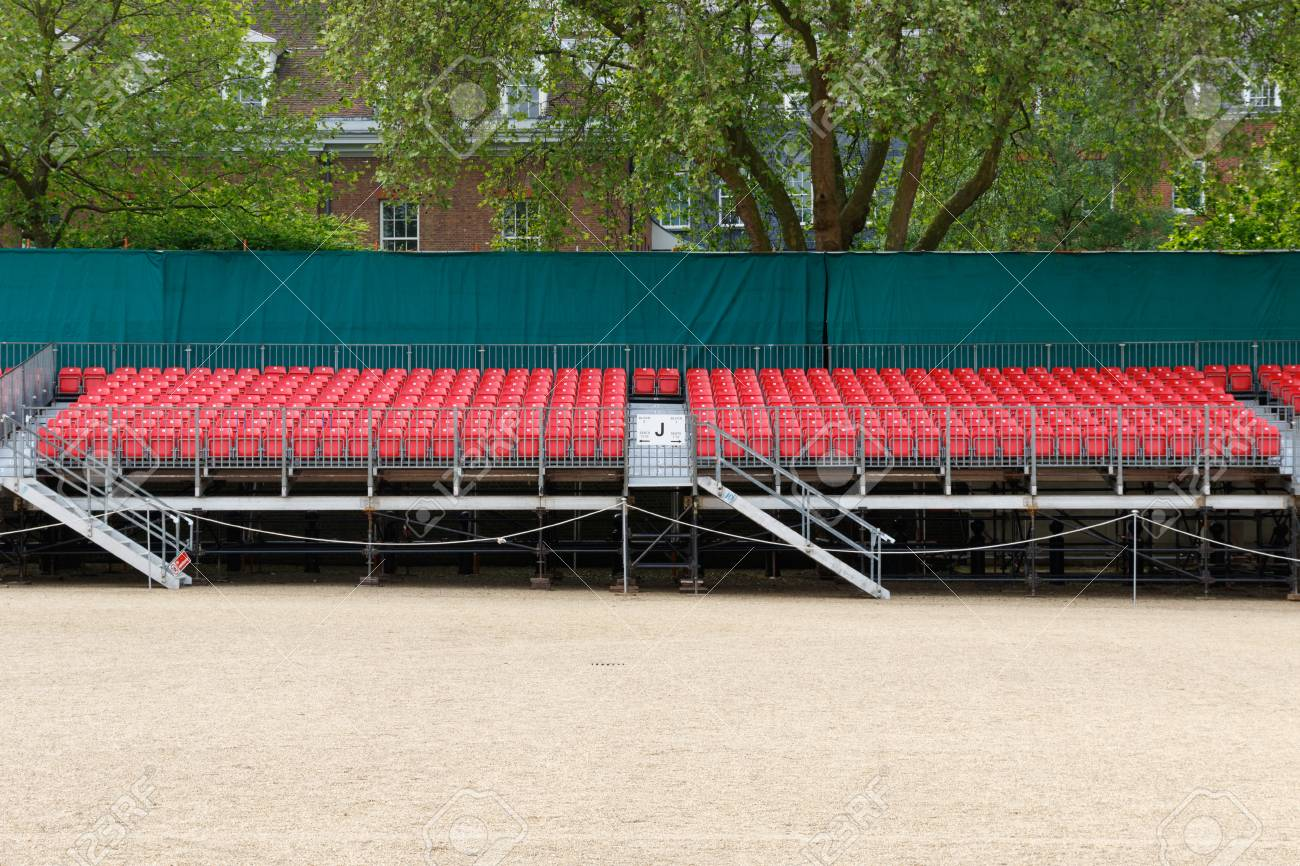 Temporary outdoor raked red spectator seating