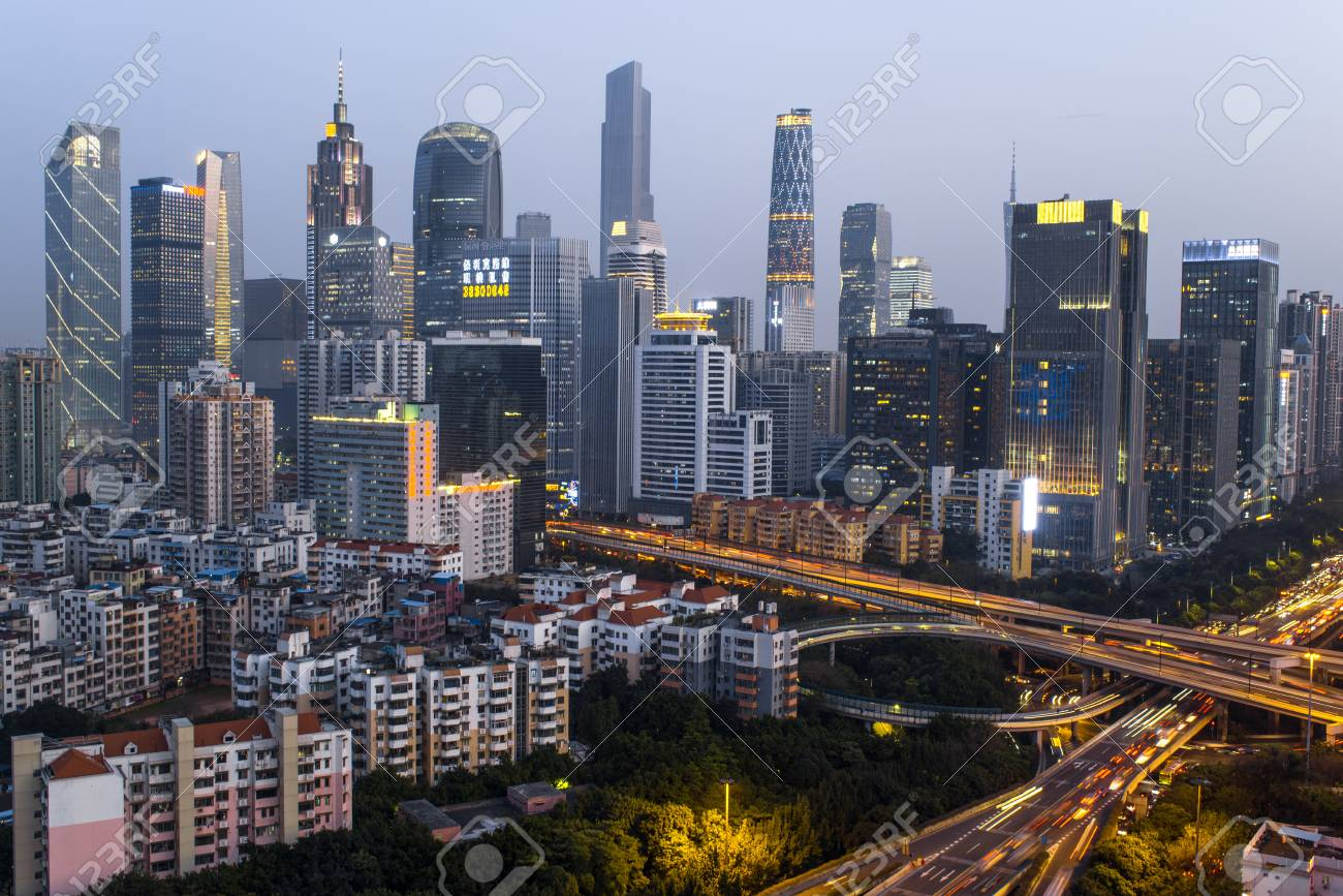 Guangzhou, China-Feb  29, 2016: Skyline of the central business