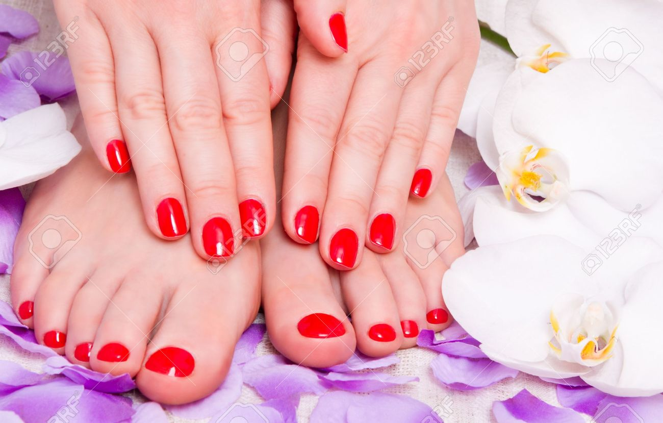 red manicure and pedicure red Stock Photo - 14995601
