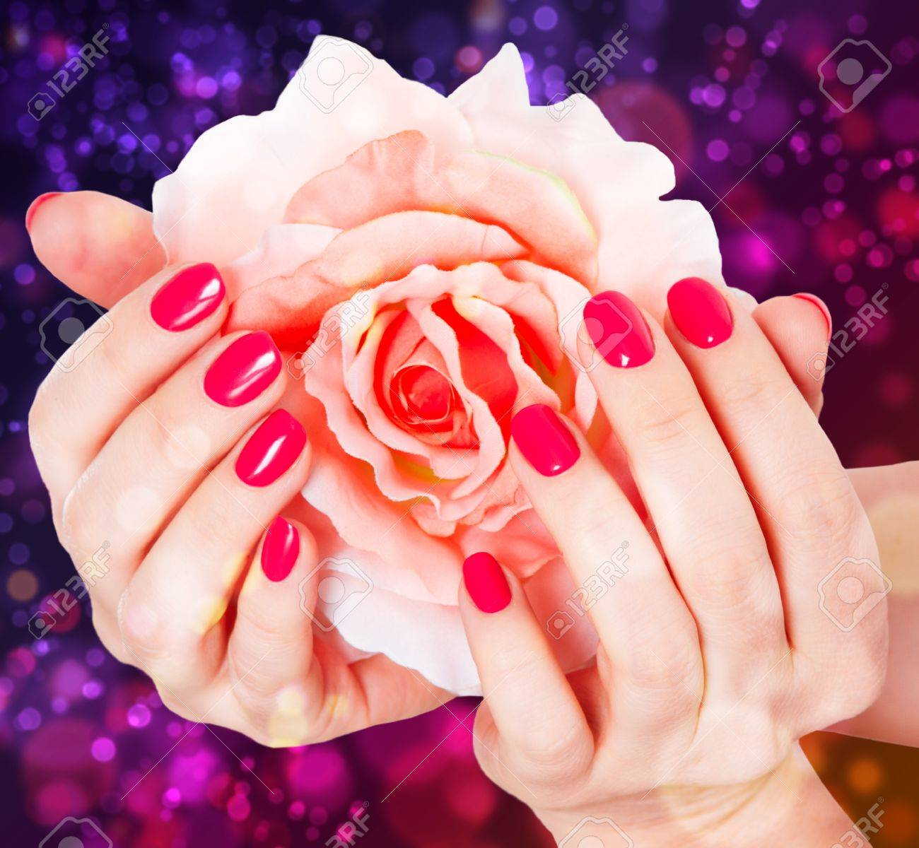 manicure and rose on a beautiful background Stock Photo - 15708050