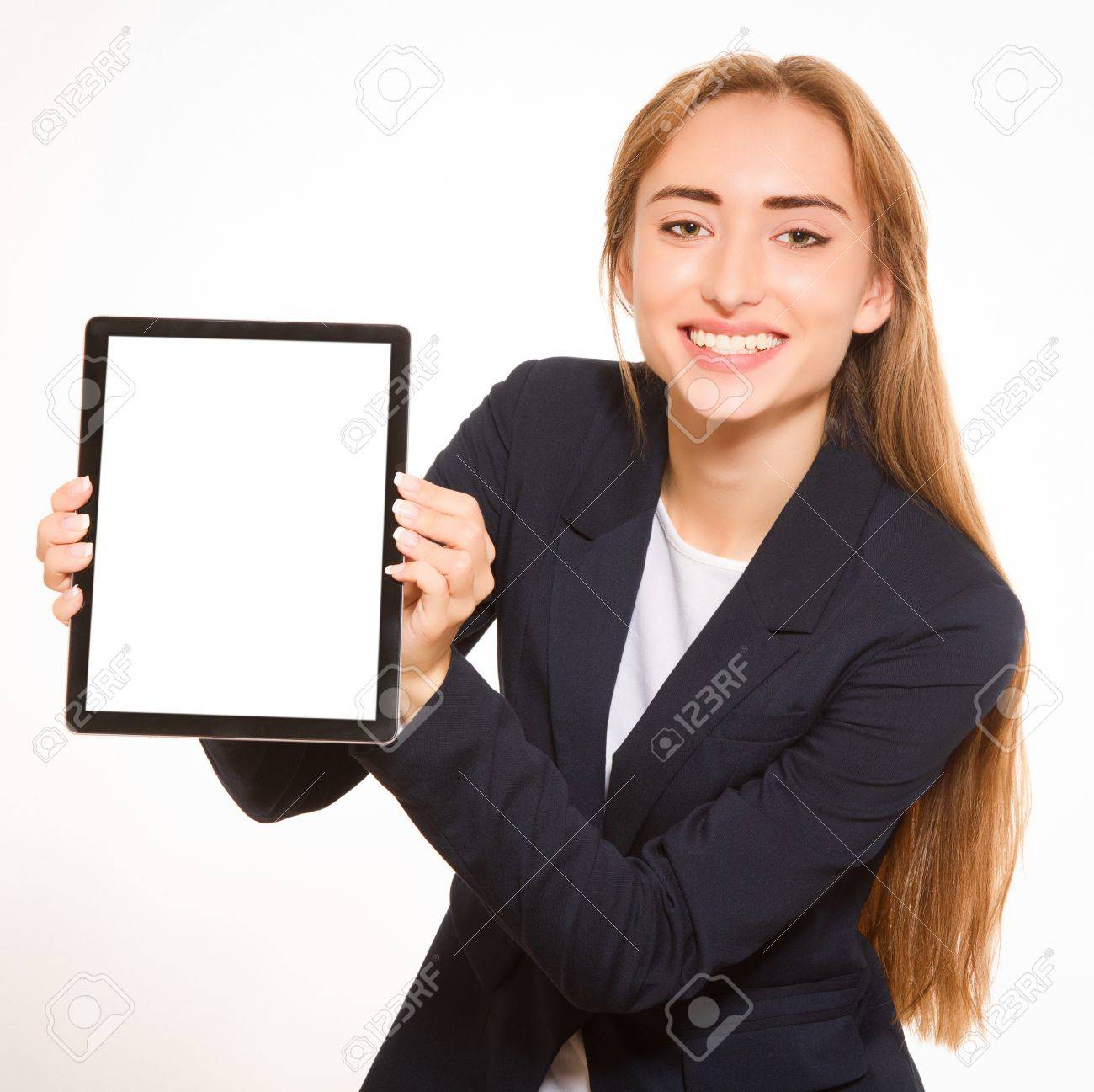 Young woman showing a tablet PC Stock Photo - 15763680