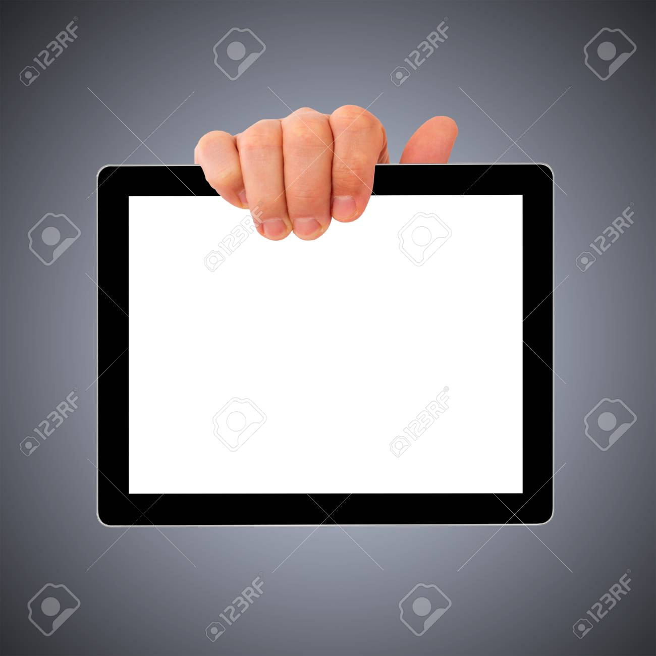 digital tablet pc with businessman hand. Isolated on white. Stock Photo - 23248311