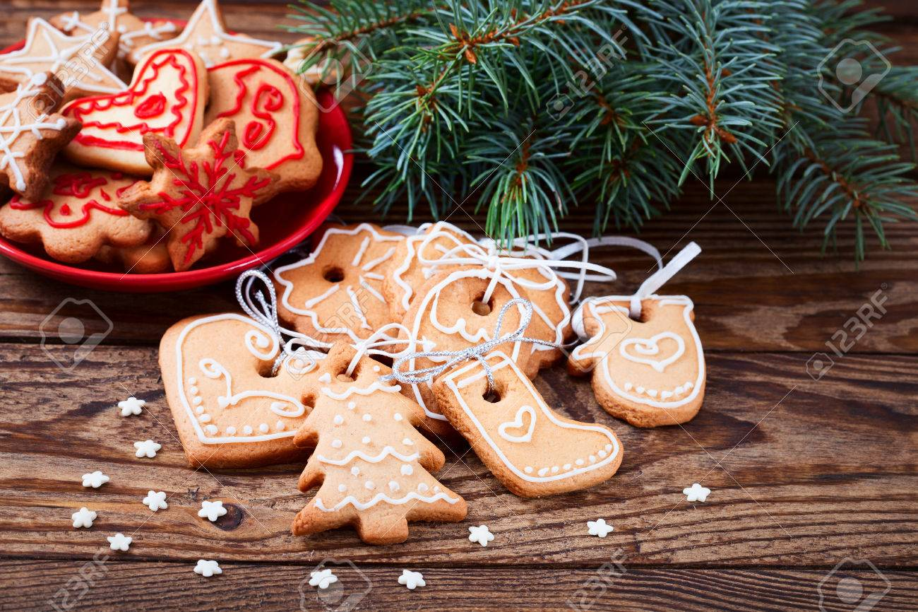Christmas Cookies Handmade Lies On Wooden Background Gingerbread
