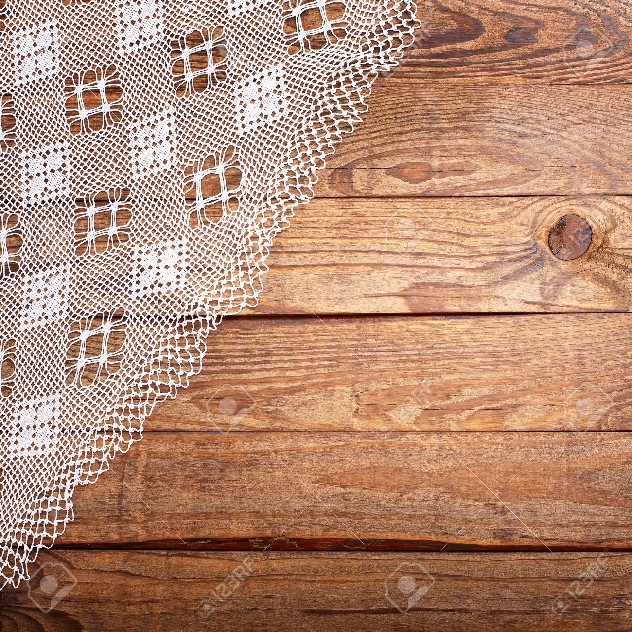 Stock Photo   Wood Texture, Wooden Table With White Lace Tablecloth Top  View. Collage For Menu