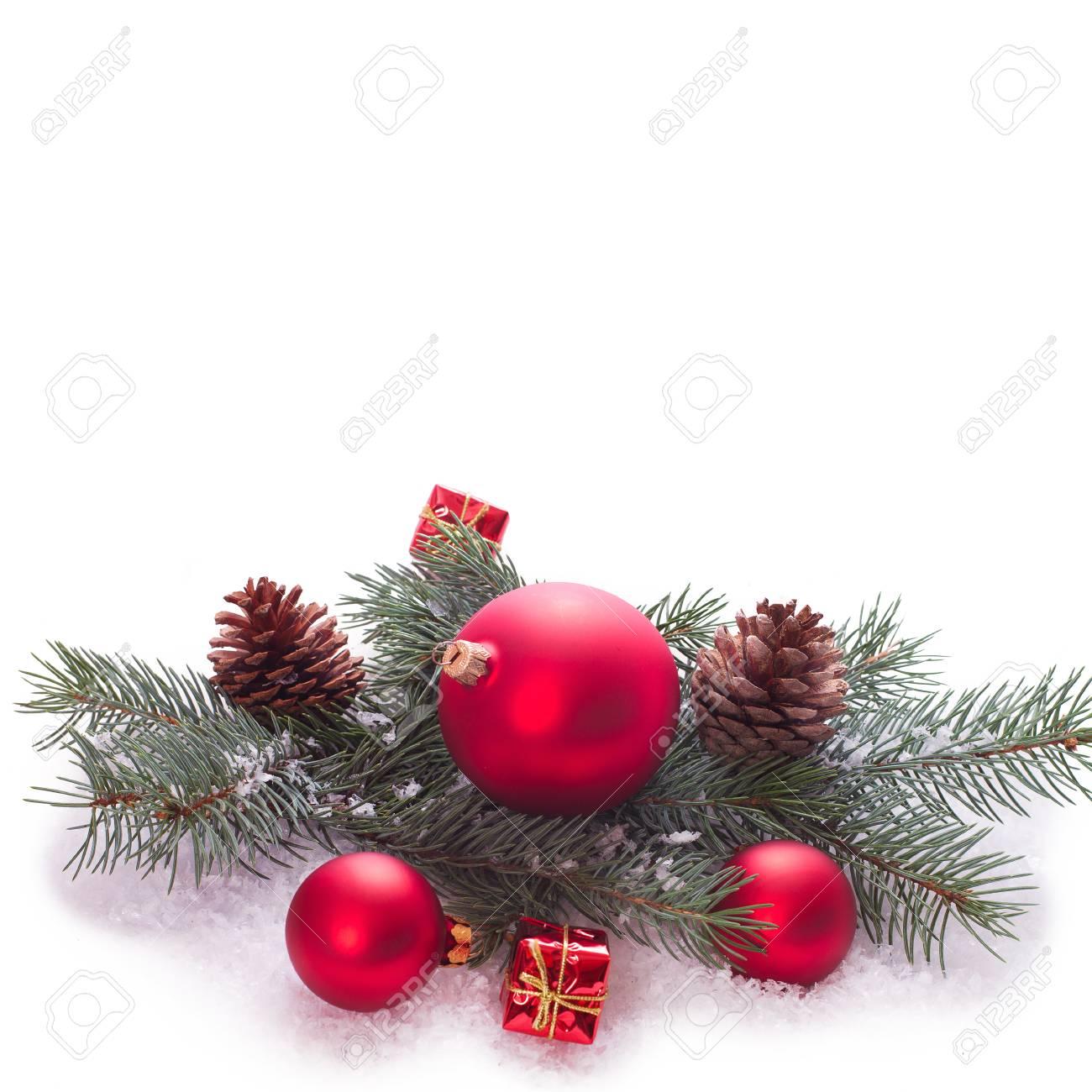 Christmas Ornaments On Christmas Tree Christmas Border With