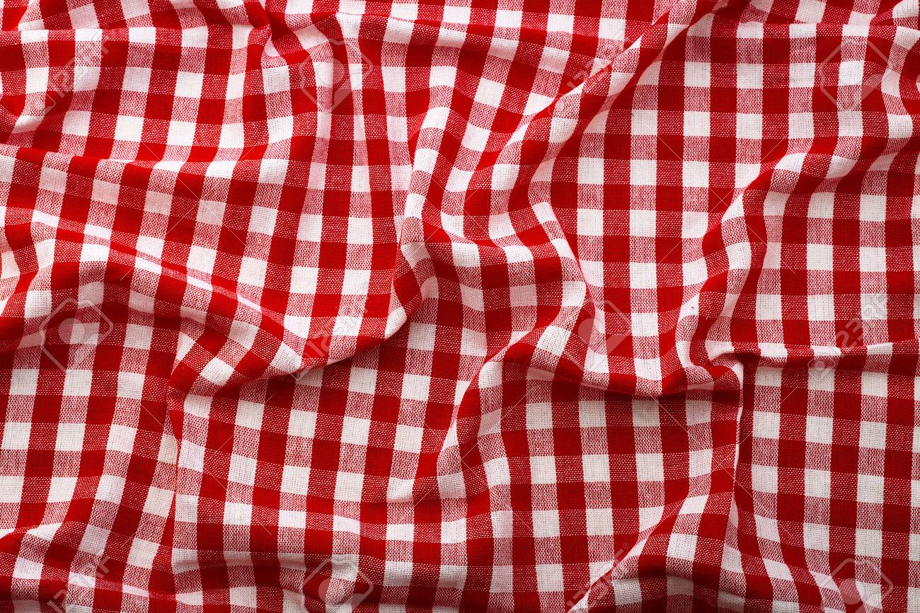 Stock Photo   Wrinkled Tablecloth Red Tartan In Cage Texture Wallpaper.  Unique Perspectives Top View.