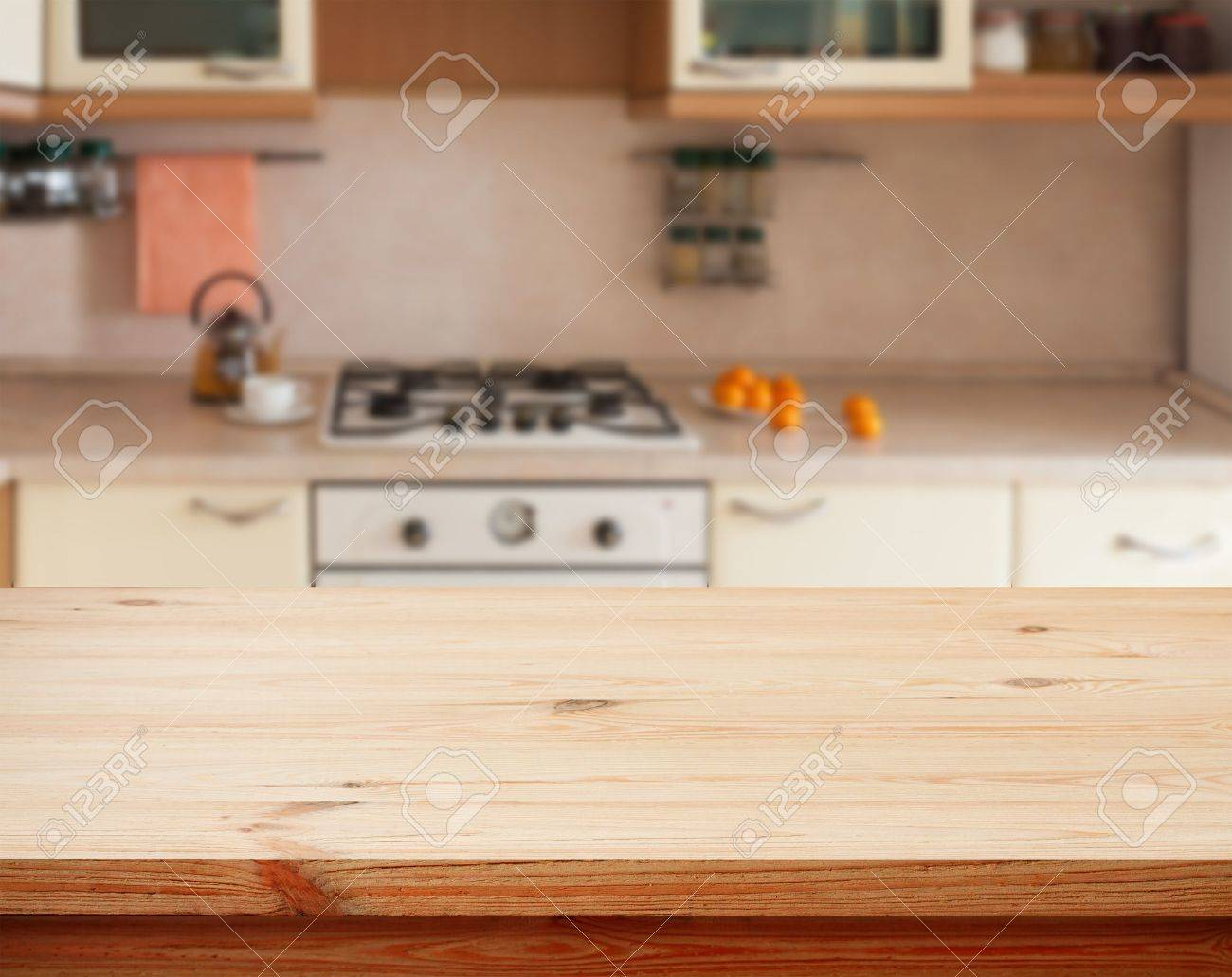 Kitchen Table Close Up Kitchen Interior Empty Wooden Table Closeuphorizontally Stock