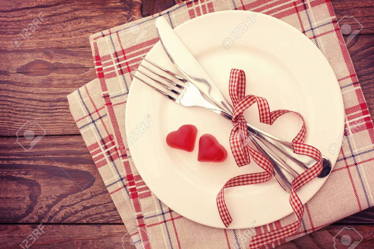 Stock Photo - Valentine day love beautiful. Romantic dinner tableware and hearts on wooden background. & Valentine Day Love Beautiful. Romantic Dinner Tableware And.. Stock ...