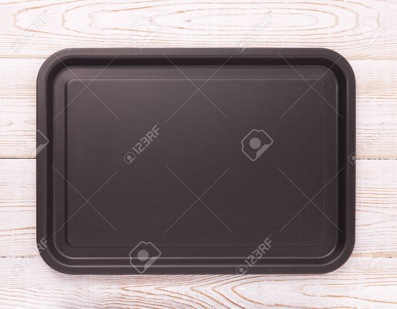 square table top view. empty baking tray for pizza on wooden table isolated close up top view  square. mock square r