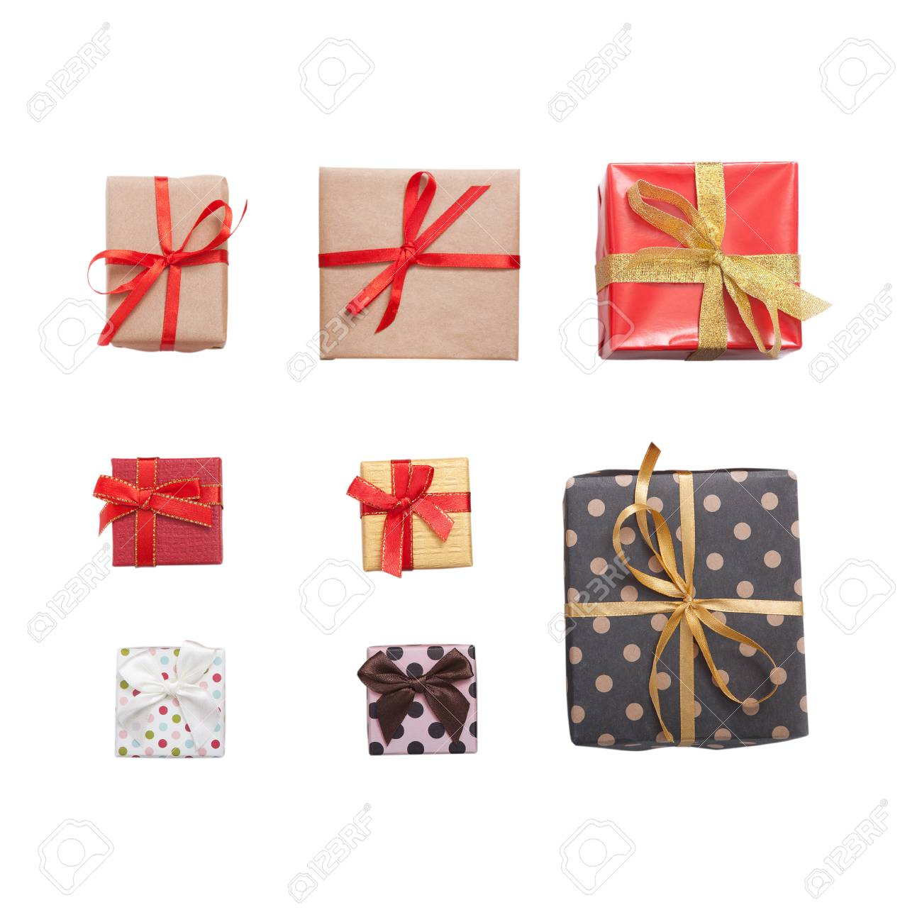 Presents Small Gift Boxes With Ribbon Top Viev Isolated Square