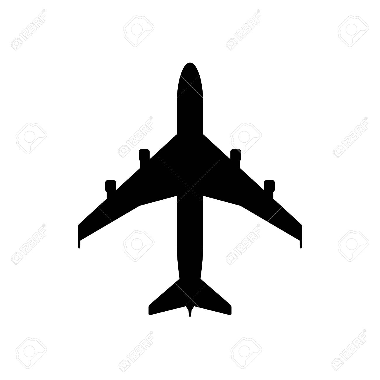 Airplane Icon Black Icon Isolated On White Background Airplane
