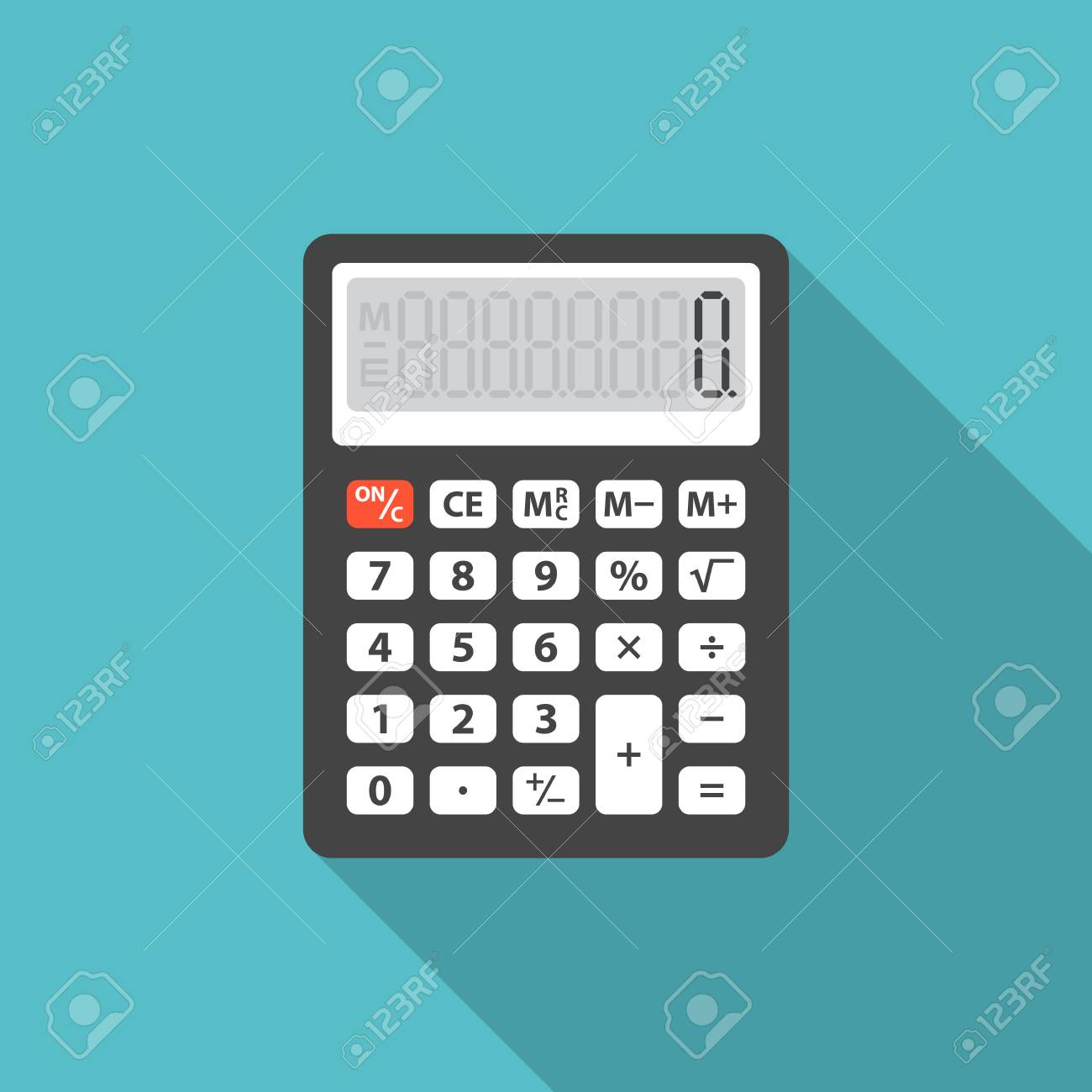 Calculator icon with long shadow. Flat design style. Calculator simple silhouette. Modern, minimalist icon in stylish colors. Web site page and mobile app design vector element. - 90313118