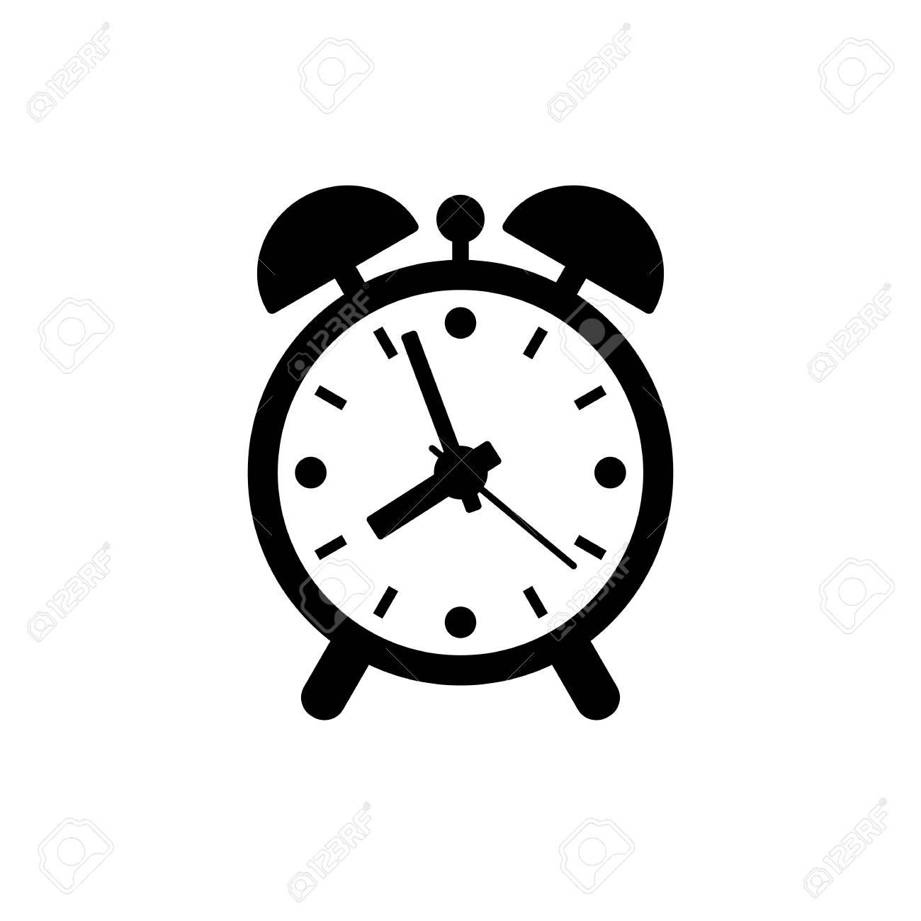 Alarm clock icon  Black, minimalist icon isolated on white background