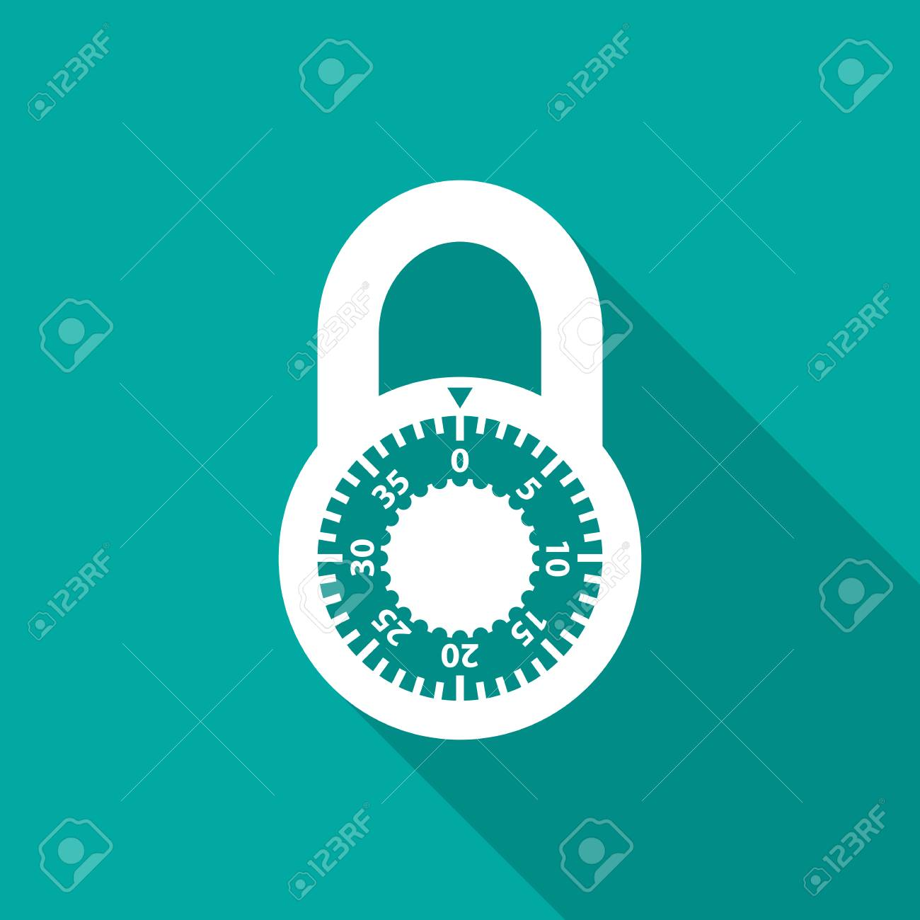 Lock Icon With Long Shadow Flat Design Style Simple Combination Silhouette Modern