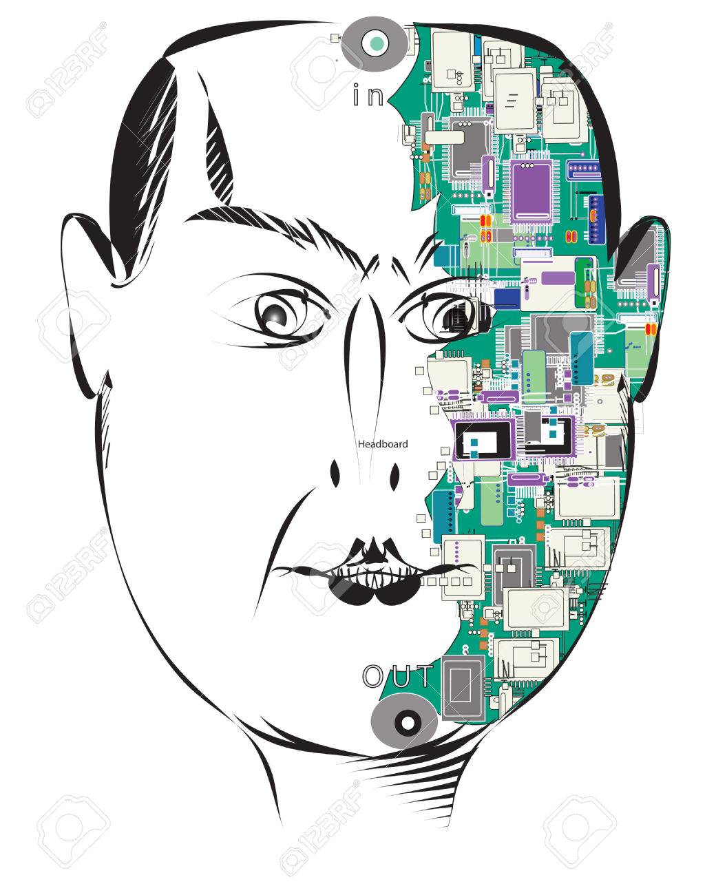 Head with a computer chips and an electrical circuit board instead
