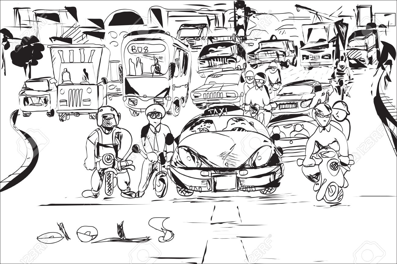 Black And White Sketch Of The Traffic Jam,city Silhouette In.. Stock ...