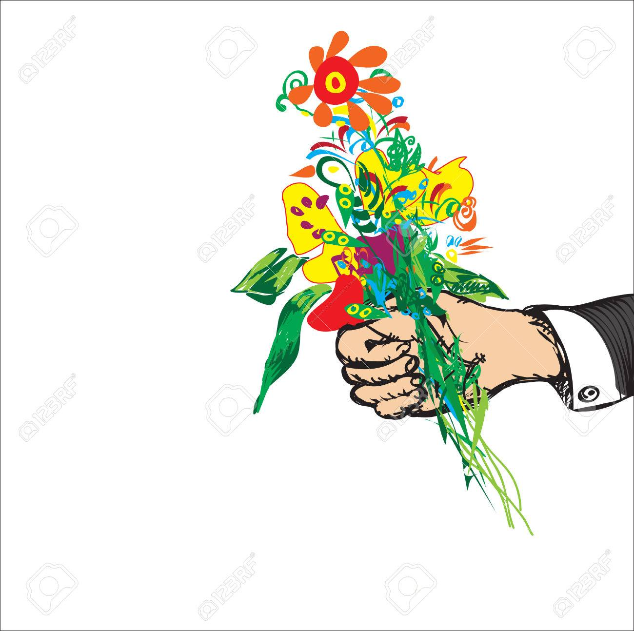 drawn male hand with a bouquet of abstract flowers isolated