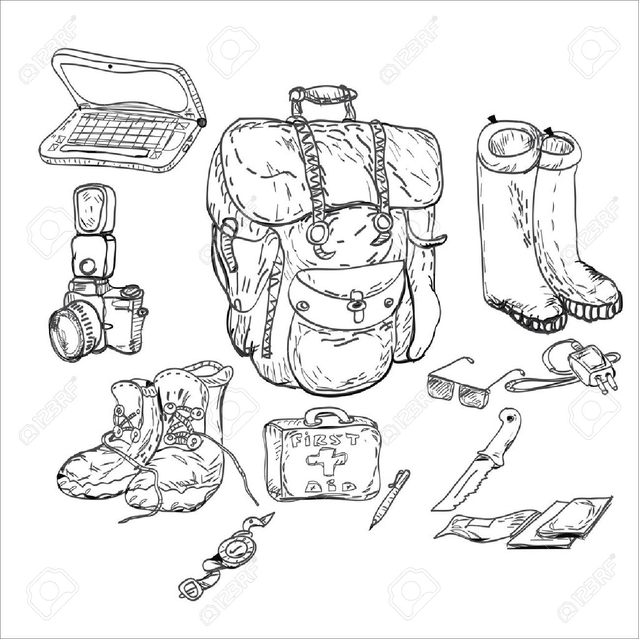 Travel Background And Survival Kit Drawing In Doodle Style Black White Stock Vector