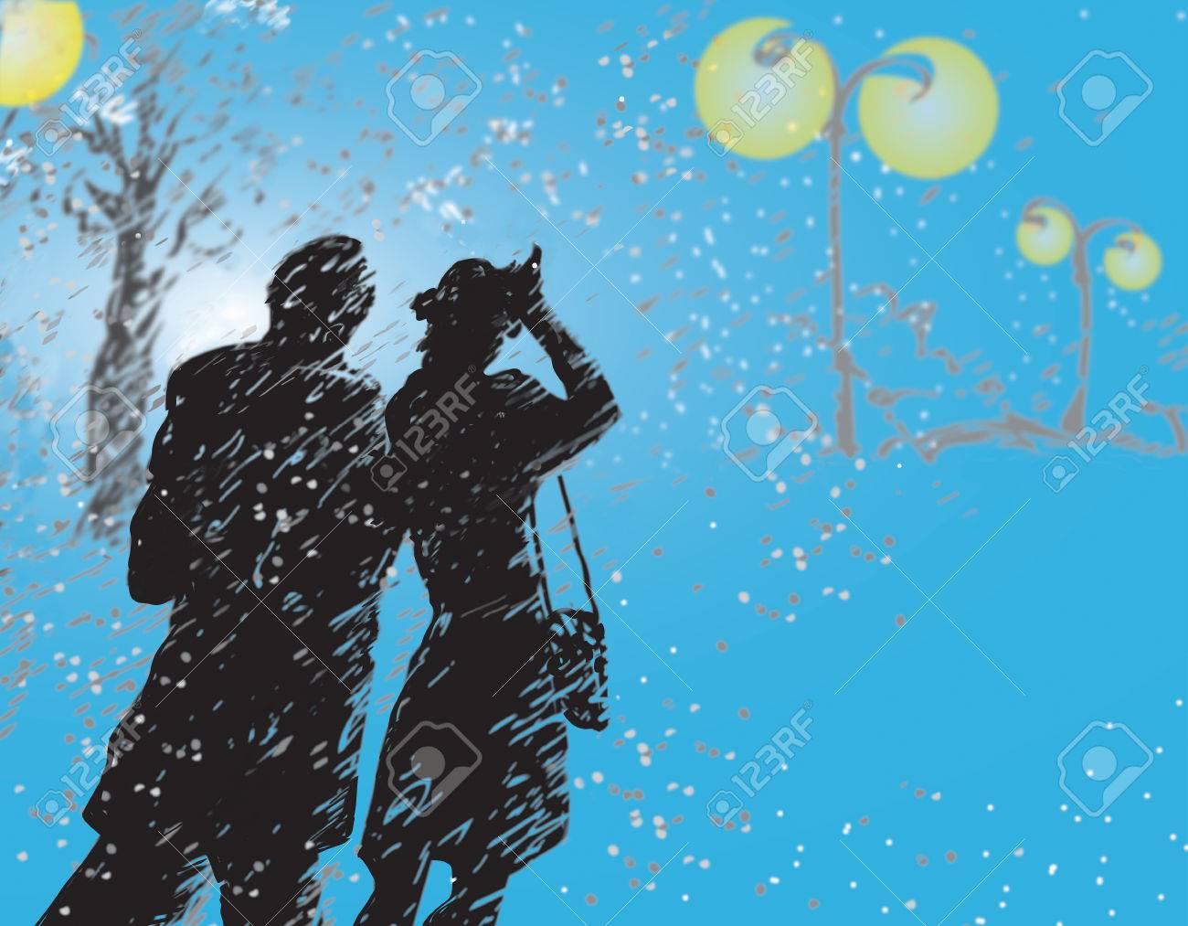 Ilustración De Una Pareja Caminando Por La Tormenta De Nieve En Un ...
