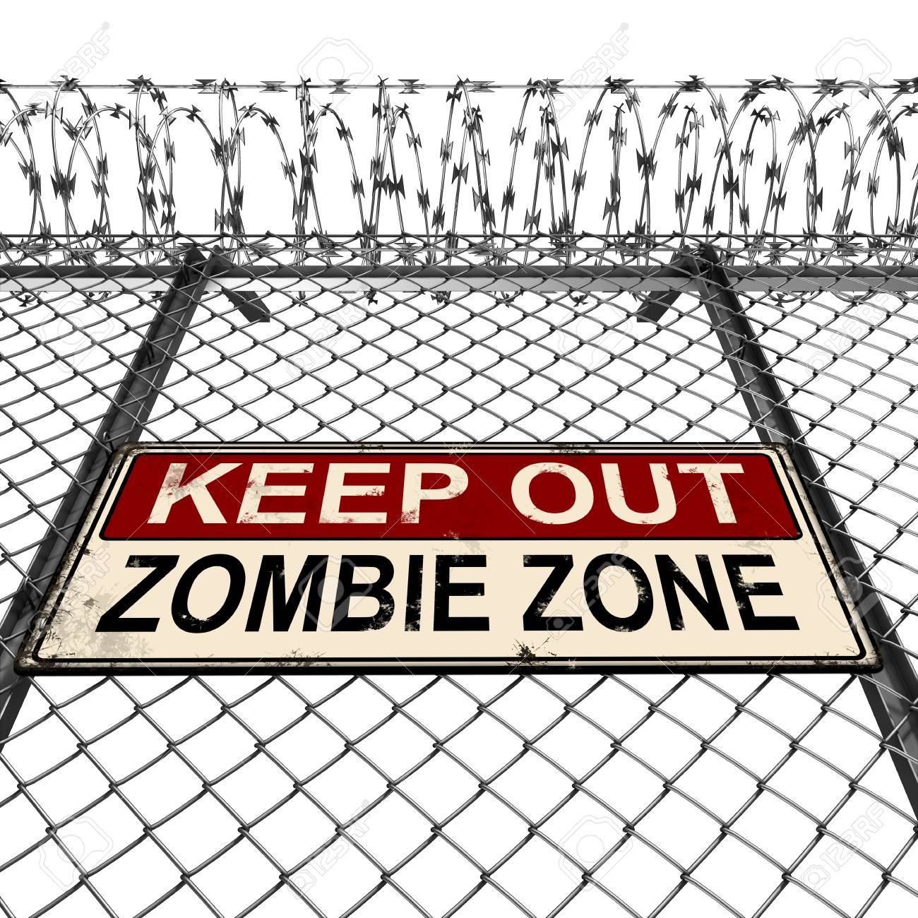 Silver Or Steel Fence With Barbed Wire And Keep Out Zombie Zone ...
