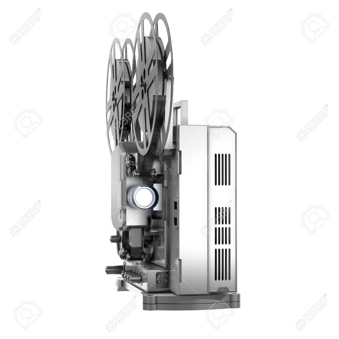 Old Cinema Projector Vintage Movie Or Video Concept 3d Rendering Isolated Stock Photo