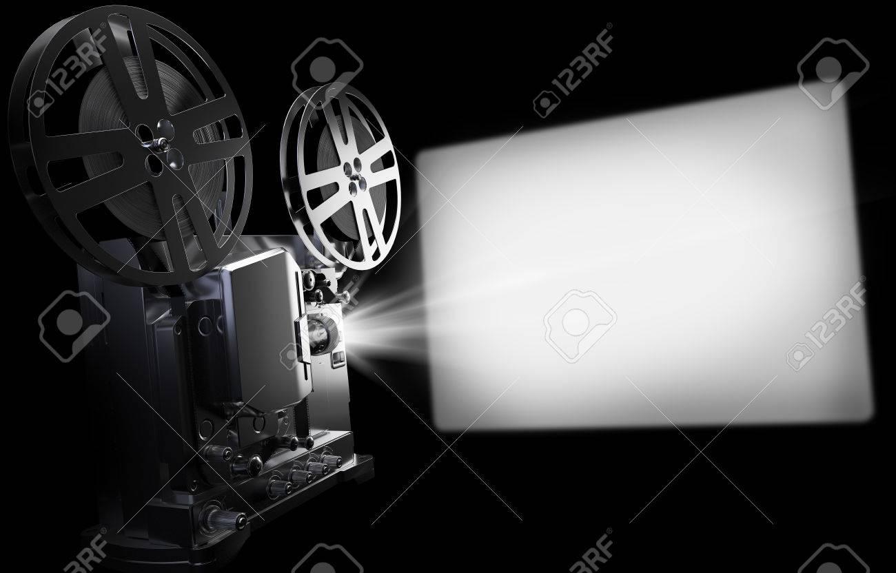 Ancien projecteur de cinéma et écran, film vintage ou concept vidéo. Rendu  10D Illustration sur fond noir