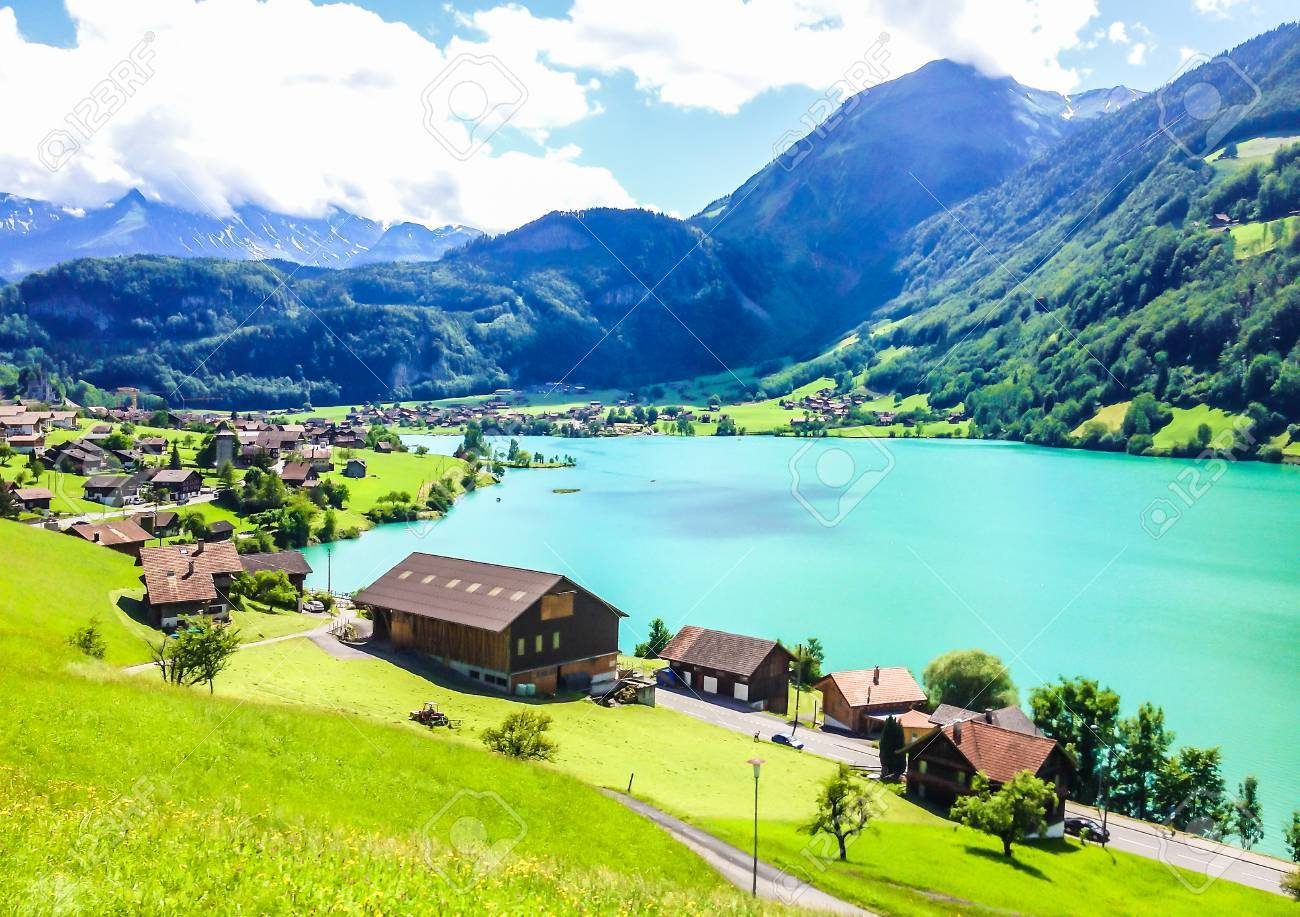 Colorful view of Thunersee (Lake Thun) in a beautiful summer