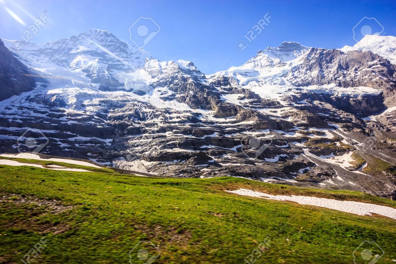 majestic natural european swiss alpine scenery background, jungfrau