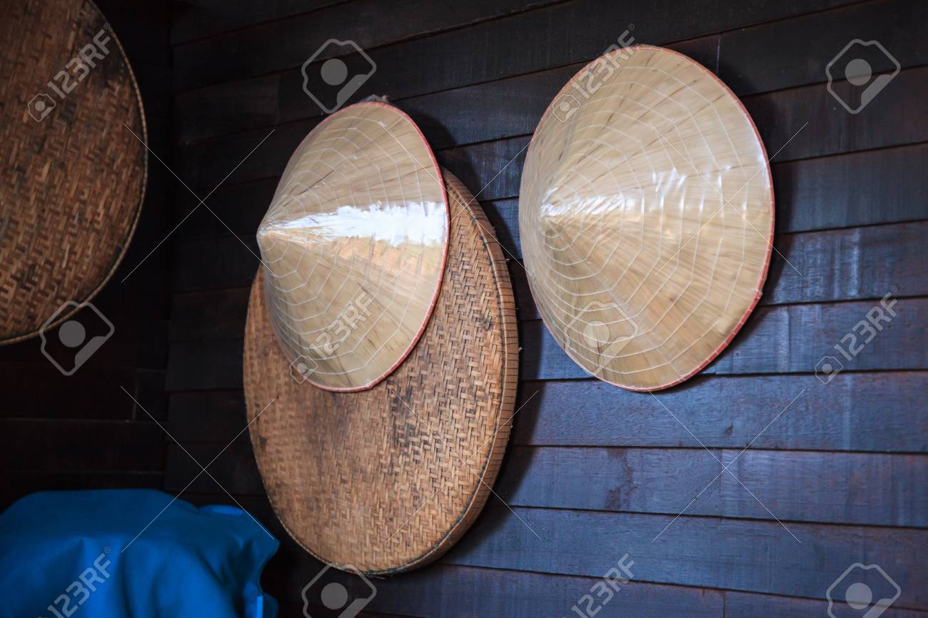 Vintage Woven Products Bamboo Wooden Farmer Hats And Threshing Stock Photo Picture And Royalty Free Image Image 115372291