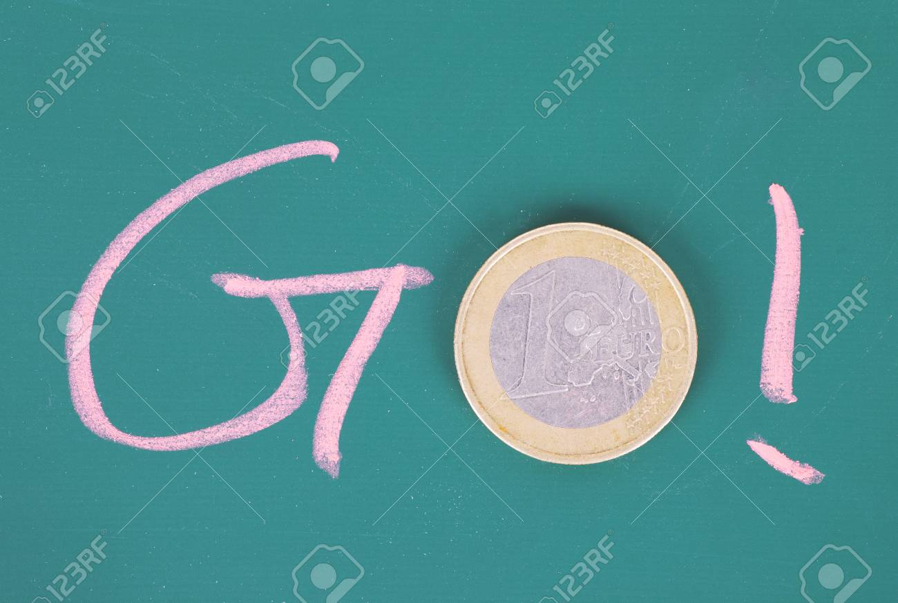 the go concept of the composition of chalk words and coins stock