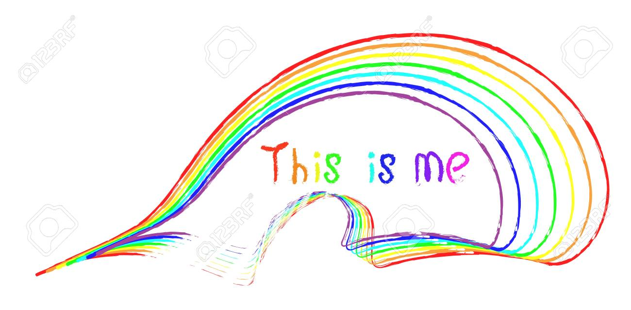 handwritten inscription this is me and stripes of different colors of the rainbow as if drawn with a brush on a white background. symbolism - 123427336
