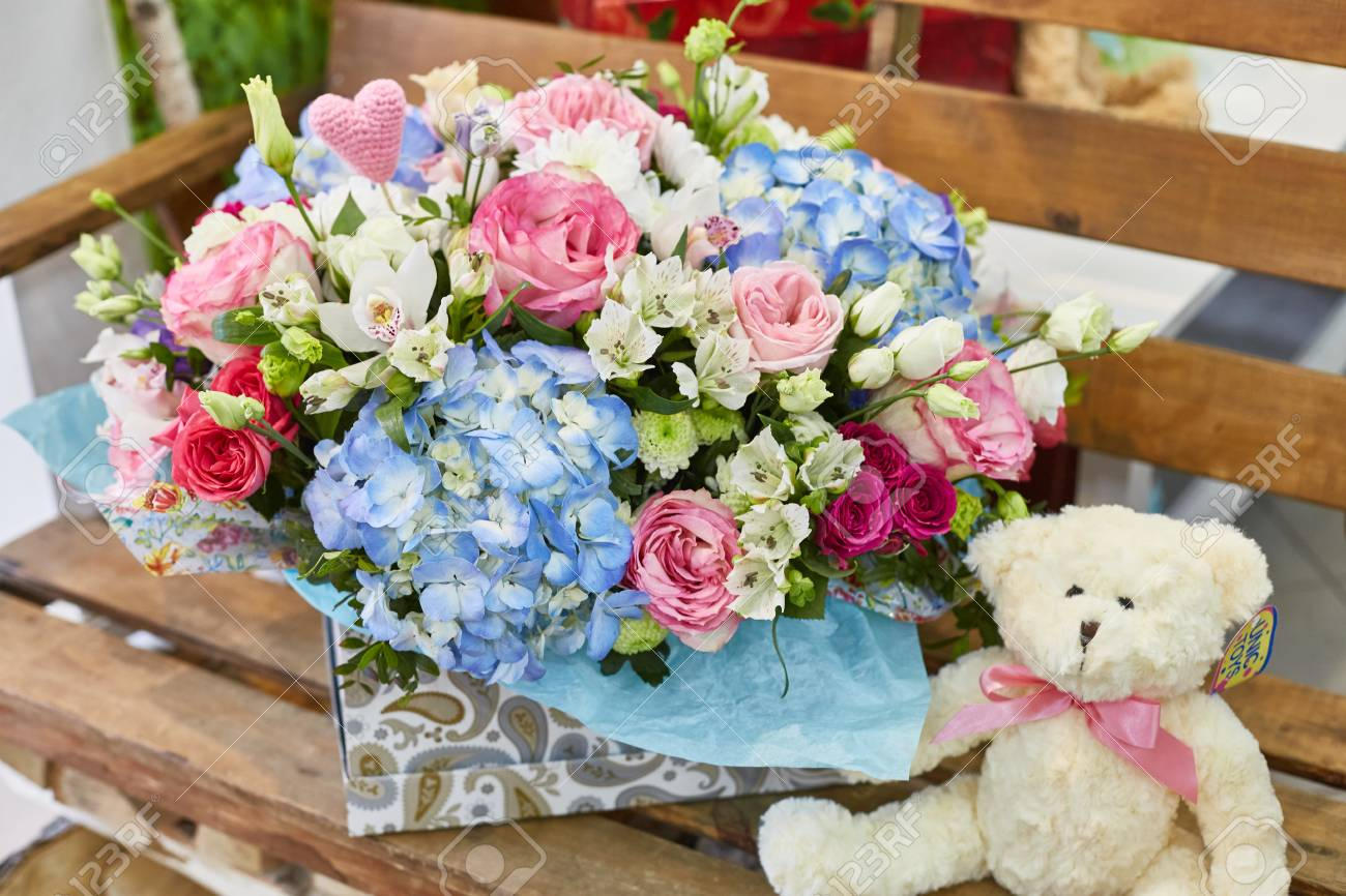 Flower Arrangement Flower Gift In A Box Pink And Blue Color Stock Photo Picture And Royalty Free Image Image 98593064