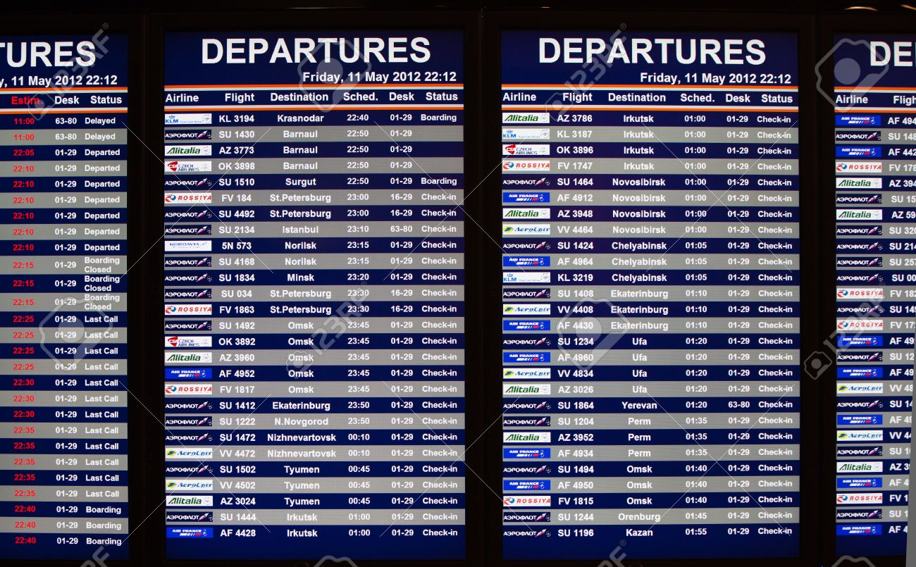 Airport departures information board Stock Photo - 13775717