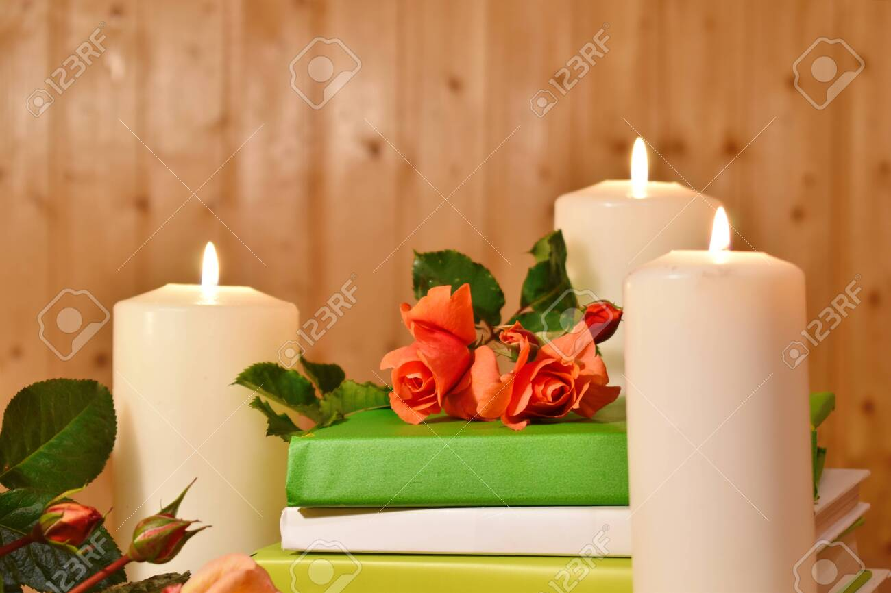 Rest And Relaxation Wallpaper Green Books White Candles And Stock Photo Picture And Royalty Free Image Image 133254527