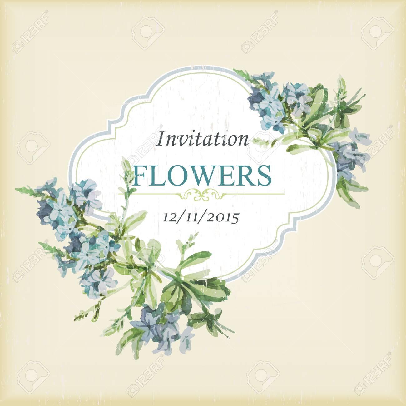 Tarjeta De Invitación Vintage Con Flores De Acuarela Ilustración Vectorial