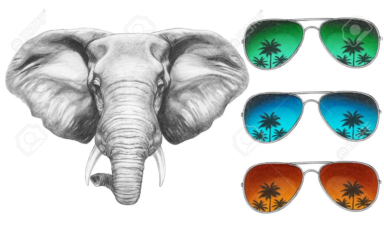 mode designer doux et léger choisir l'original Portrait d'éléphant avec des lunettes de soleil miroir. Illustration  dessinée à la main.