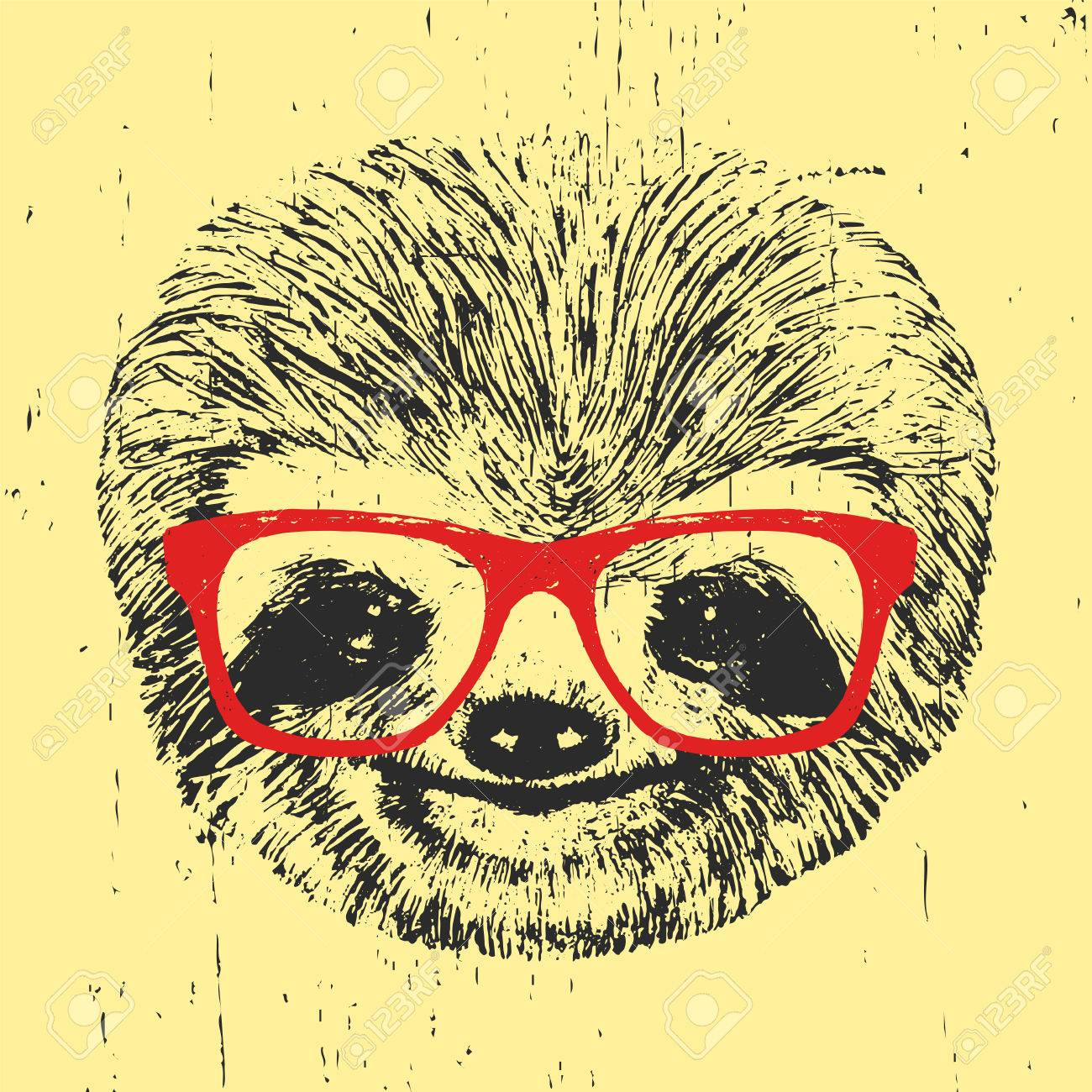 7cf7841287e Portrait of Sloth with glasses. Hand-drawn illustration. Vector. Stock  Vector -