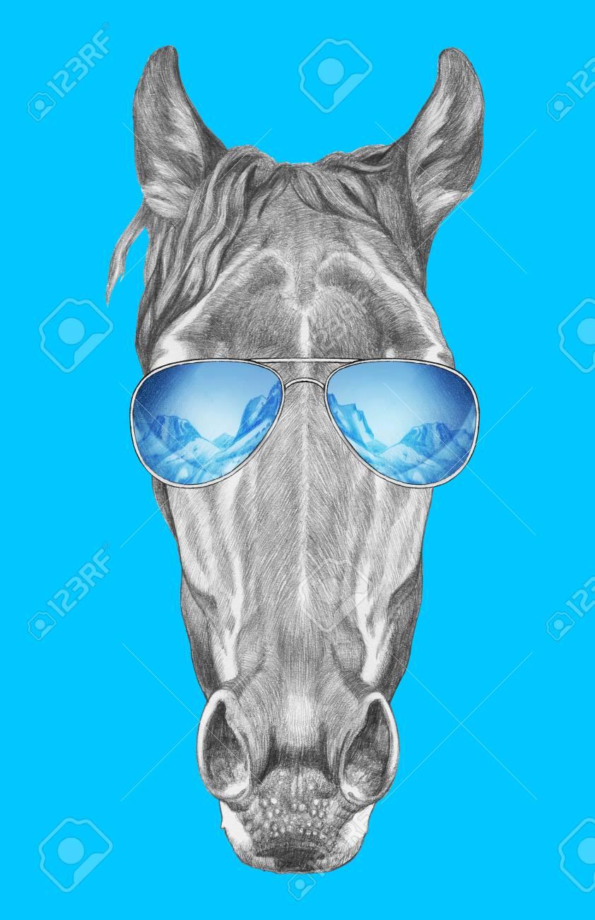 Gafas Mano A Con Sol Retrato De Caballo EspejoDibujado PiOXkZu