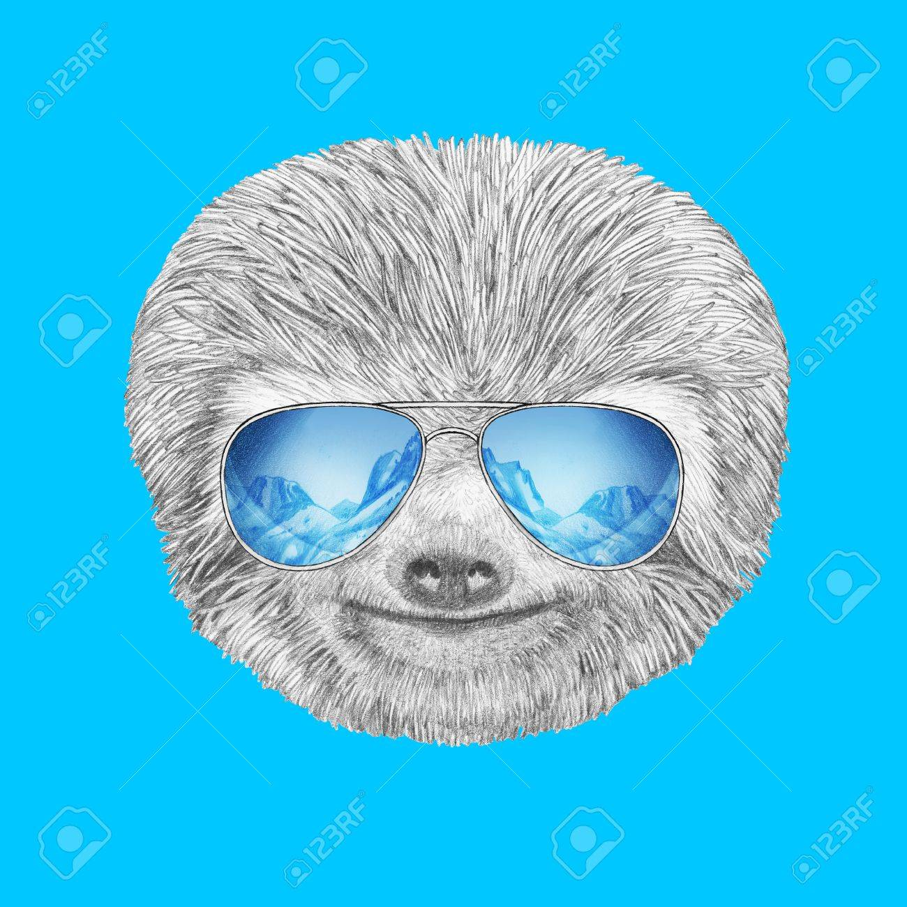 portrait of sloth with mirror sunglasses hand drawn illustration