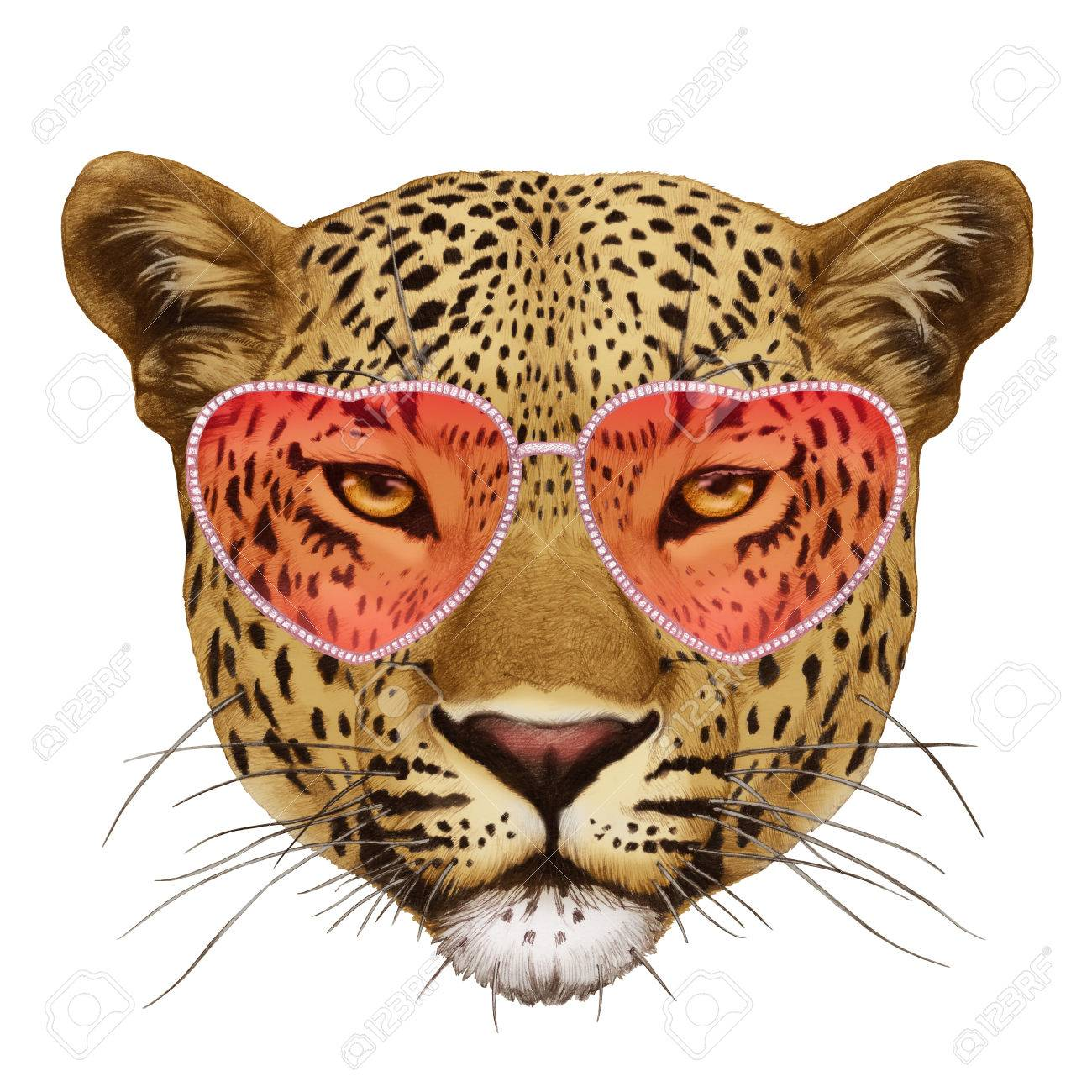 ad4c6626d2b Leopard In Love! Portrait Of Leopard With Sunglasses. Hand-drawn ...