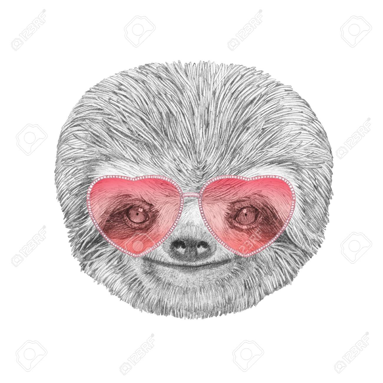 sloth in love portrait of sloth with sunglasses hand drawn stock