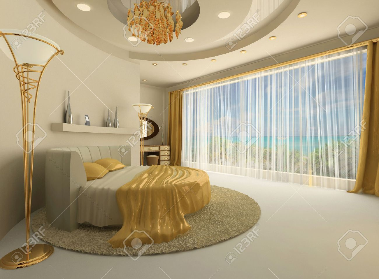 the round bed in a luxurious interior with a large window. round