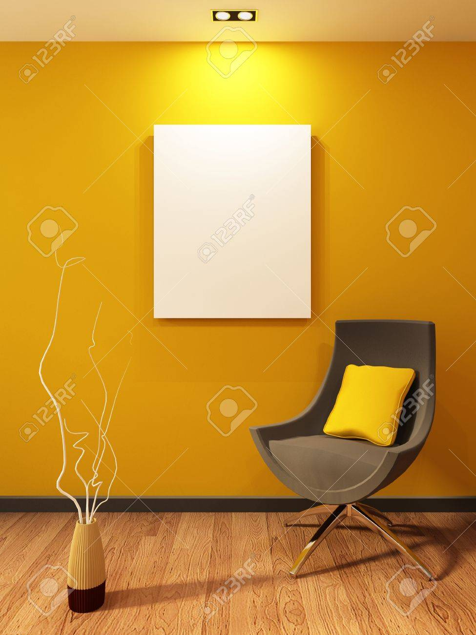Modern armchair and blank on the wall in orange interior. Wooden Parquet Stock Photo - 9782285