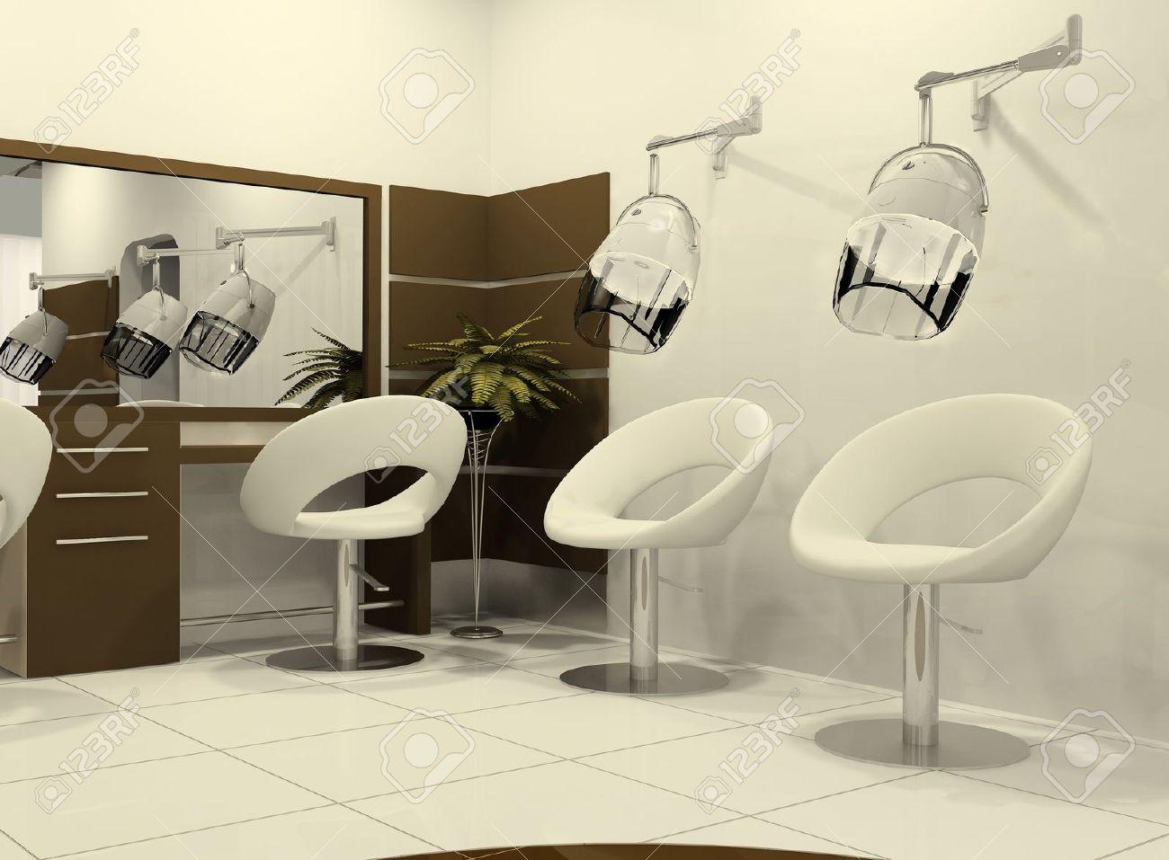 Intérieur Luxueux D\'un Salon De Coiffure. Séchage à L\'air De Poils ...