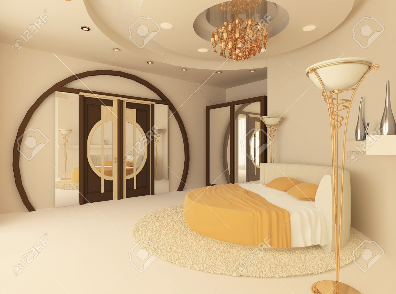 round bed in a luxurious bedroom with a suspended ceiling Stock Photo - 9897168