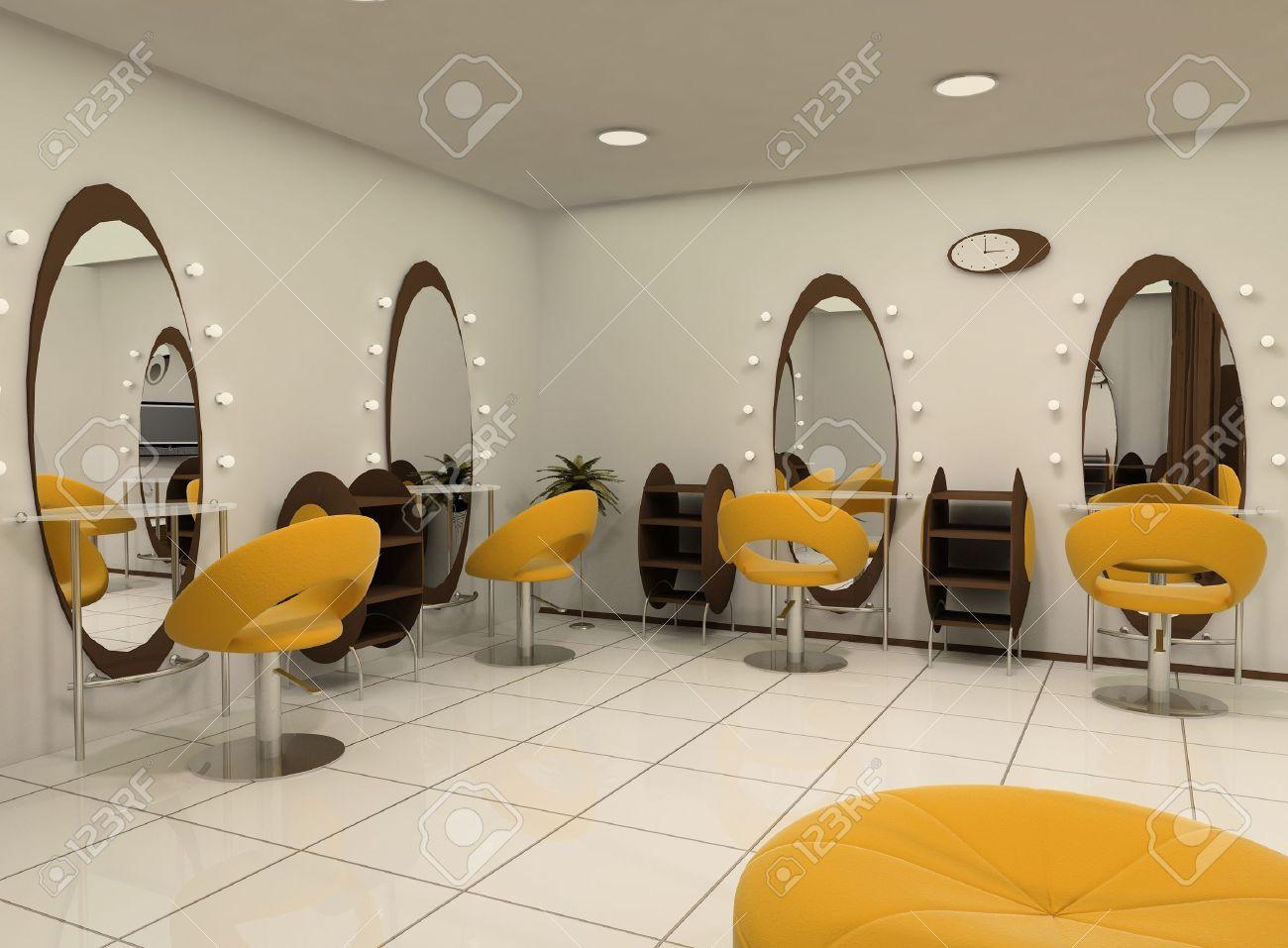 Outlook Von Luxus Beauty-Salon. Arbeitsplätze. Salon Von Friseur ...