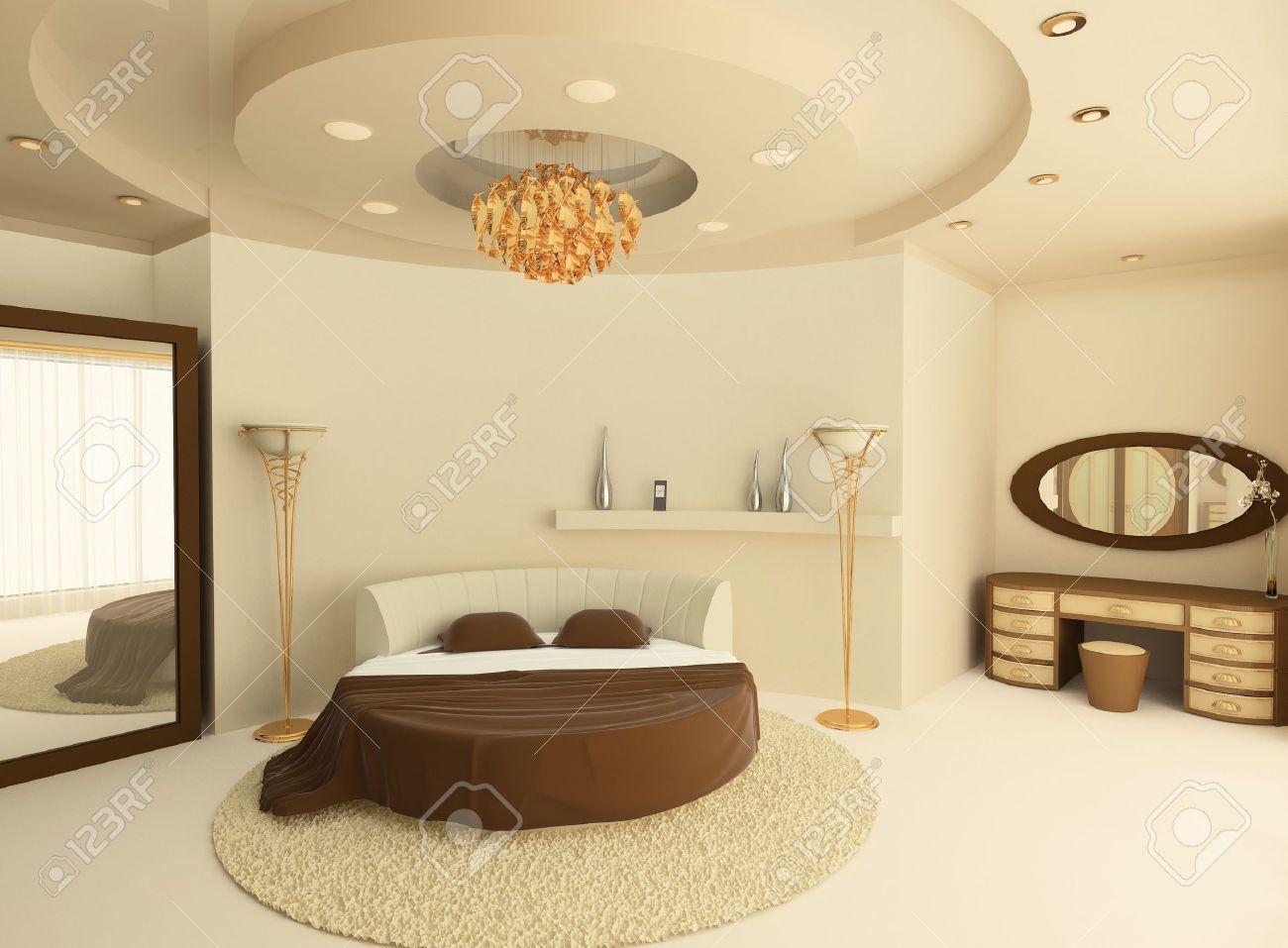 3d Round ágyban Egy álmennyezet Egy Luxus Hálószoba Royalty Free ...