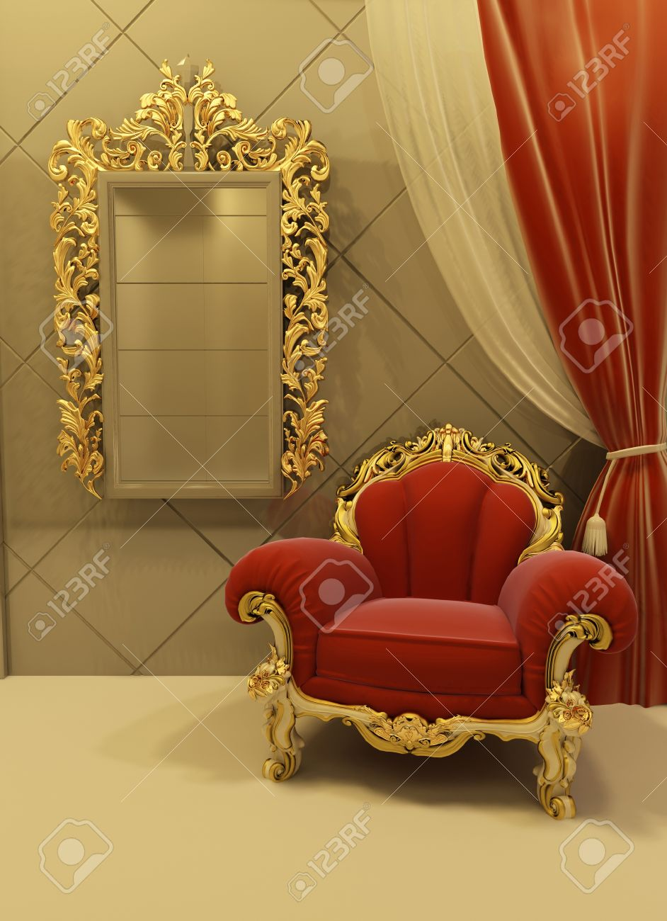 3d Royal Furniture In A Luxurious Interior Stock Photo   10031991