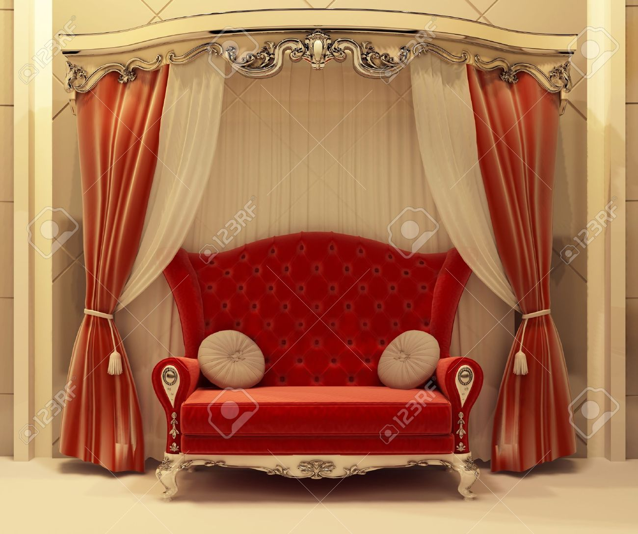 3D Red Velvet Curtain And Royal Sofa Stock Photo   10031994